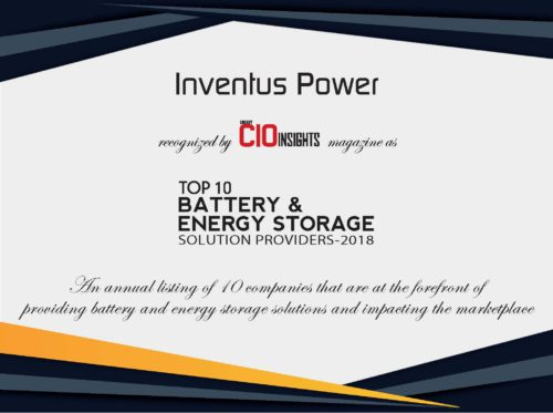 Energy CIO Insights Certificate - Inventus Power - Top 10 Battery & Storage Solutions Partner 2018
